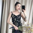 Set: Chiffon Floral Camisole Top + Chiffon Skirt