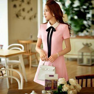 Wool Blend Contrast-collar A-line Dress