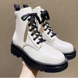 Lace-up Two-tone Short Boots