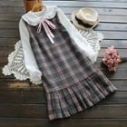 Sleeveless Pleated Plaid Dress