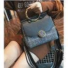 Plaid Panel Tote With Wide Shoulder Strap