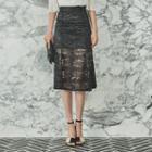 Overlay-lace Midi Skirt
