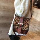 Leopard Panel Square Buckled Crossbody Bag