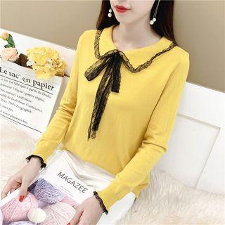 Long-sleeve Lace Trim Tie Neck Knit Top