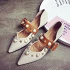 Faux-pearl Pointed Flats