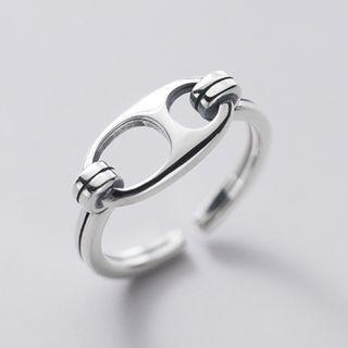 Perforated Ring S925 Silver - As Shown In Figure - One Size