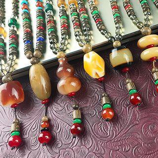 Retro Bead Pendant Necklace 6805 - Random - Multicolor - One Size