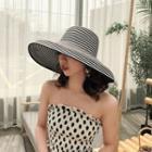 Striped Wide Brim Bucket Hat