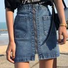 Zip A-line Mini Denim Skirt
