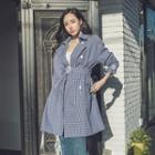 Gingham-check Trench Coat