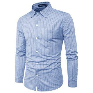 Long-sleeved Dual-pocket Striped Slim Shirt