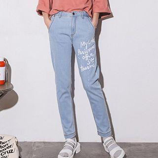 Letter Straight Jeans