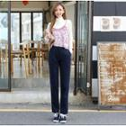 Herringbone Straight-cut Dress Pants
