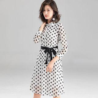 3/4-sleeve Polka Dot Tie-waist A-line Dress