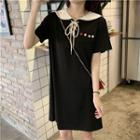 Short-sleeve Lace-up Collared Dress Black - One Size