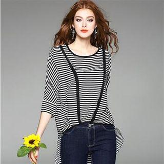 Long-sleeve Striped Dip-back Top