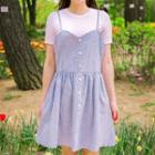 Sleeveless Buttoned Striped Dress
