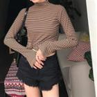 Long-sleeve Stripe Turtleneck T-shirt