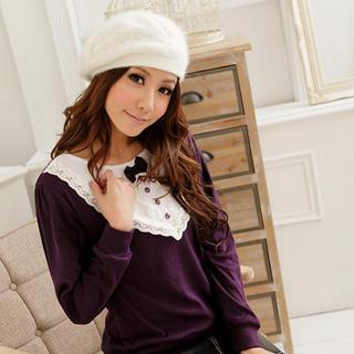 Lace Trim Knit Top