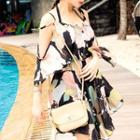 Set: Floral Bikini Top + Skirt + Cover