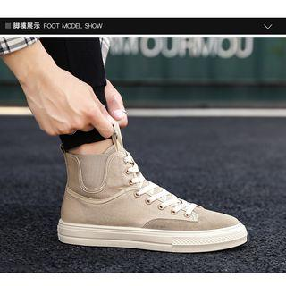 Velvet High-top Lace-up Sneakers