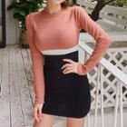 Color-block Knit Bodycon Minidress