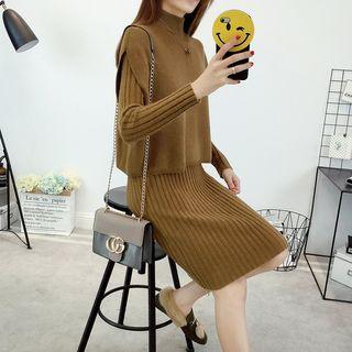 Set: Mock-neck Sleeveless Sweater + Knit Dress