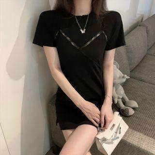 Open-back Lace-panel Mini T-shirt Dress
