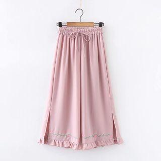 Embroidered Ruffle Trim Wide-leg Pants
