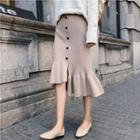 Ruffle Hem Midi Pencil Skirt