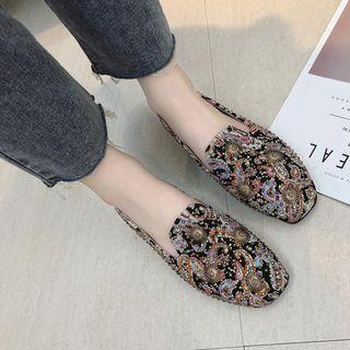 Studded Floral Loafers