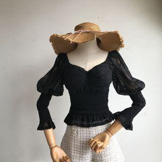 Long-sleeve Smocked Lace Top