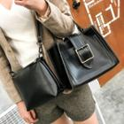 Set: Faux-leather Buckled Satchel + Cross Bag