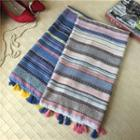 Stripe Tasseled Linen Cotton Scarf