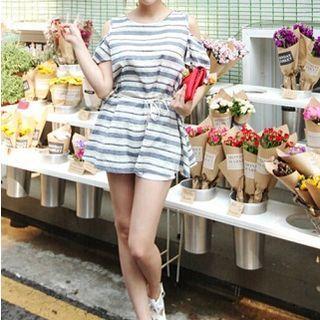 Striped A-line Dress Blue - One Size