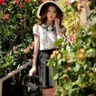 Flower-accent Lace-trim Ruffled Blouse