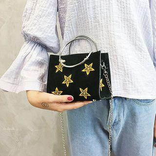 Star-embroidered Velvet Mini Satchels With Pouch