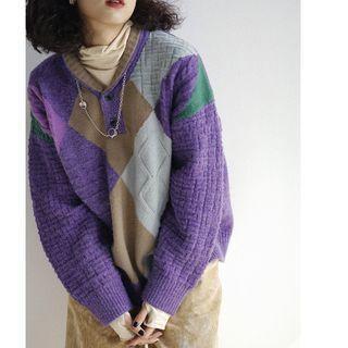 Color Block Henley Sweater
