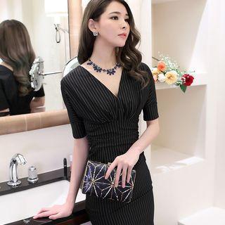 Short Sleeve V-neck Pencil Dress