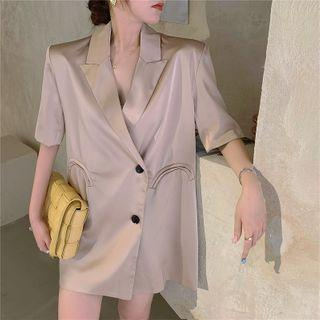 Single Breasted Short-sleeve Blazer Champagne - One Size