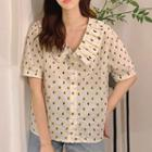 Short-sleeve Dotted Blouse White - One Size