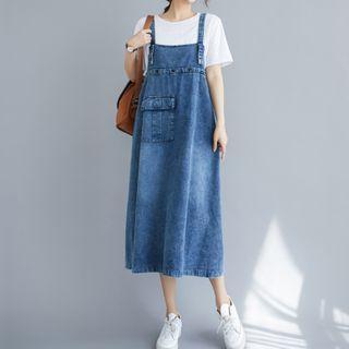 Denim Dungaree Dress Denim Blue - One Size