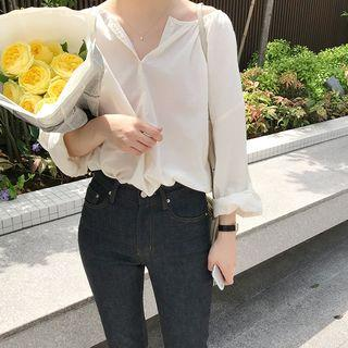 Half-placket Balloon-sleeve Top As Shown In Figure - One Size