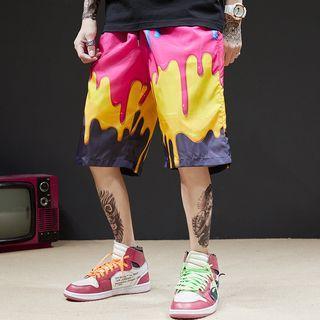Printed Drawstring Knee-length Shorts