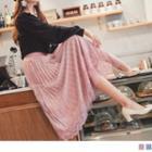 Lace Trim Pleated Mesh Velvet A-line Skirt