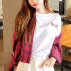Long-sleeve Cropped Plaid Shirt
