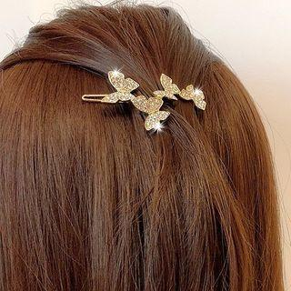 Alloy Rhinestone Butterfly Headband Hair Clip - One Size