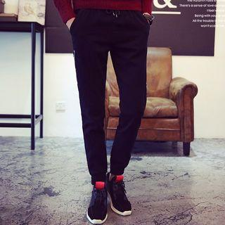 Letter Fleece-lined Jogger Pants