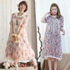 Lace Panel Floral Print Short Sleeve Dress