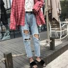 Loose-fit Distressed Jeans